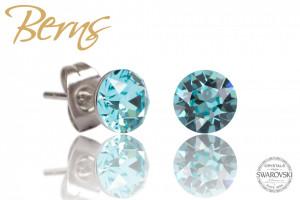 Cercei, cristale Swarovski, albastru, diametru 8mm