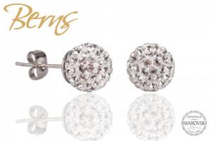 Cercei, cristale Swarovski, argintiu, forma rotunda, 8mm