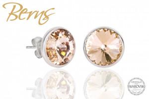 Cercei, cristale Swarovski, auriu, diametru 10 mm