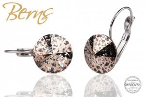 Cercei, cristale Swarovski, cu agatatoare, maro, cu model, diametru 12mm