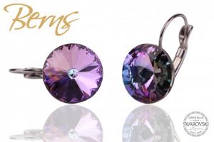 Cercei, cristale Swarovski, cu agatatoare, mov, diametru 14 mm