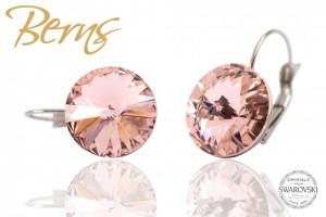 Cercei, cristale Swarovski, cu agatatoare, roz, diametru 14mm