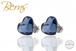 Cercei, cristale Swarovski, forma inima, albastru