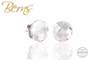 Cercei, cristale Swarovski, forma rotunda, model patrate, 10mm