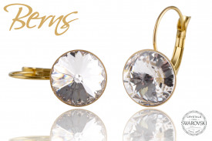 Cercei, cristale Swarovski, Gold, suflati cu aur 14k, cu agatatoare, 12mm