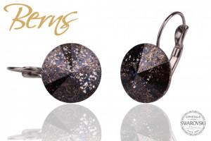 Cercei, cristale Swarovski, maro inchis, diametru 14 mm