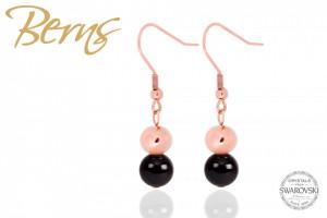 Cercei, cristale Swarovski, perle negru/rosegold