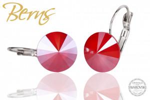 Cercei, cristale Swarovski, rosu, diametru 12 mm
