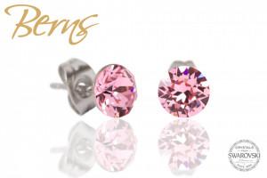 Cercei, cristale Swarovski, roz, diametru 6mm