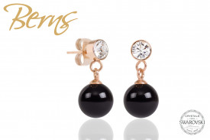 Cercei, perla + cristale Swarovski, negru/rosegold, 8mm
