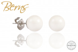 Cercei, perle Swarovski, alb, 8 mm