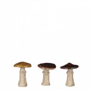 Decoratiune ceramica ciuperca, maro, 10.5x8cm