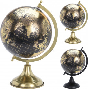 Decoratiune glob pamantesc, cu baza metalica, 20 cm