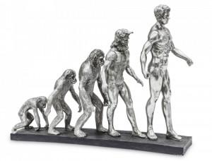 Decoratiune, Human Evolution, argintiu, 43x55x13.5 cm