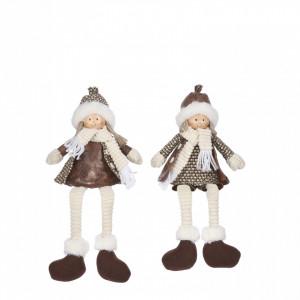 Figurina copil, fetita/baiat, cu picioare atarnate, maro,15x7x35cm