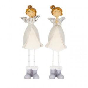 Figurina ingeras, alb/gri, 8x6x28 cm