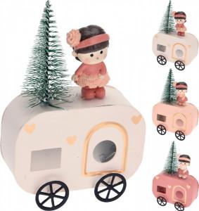 Figurina, masinuta cu fetita, roz, 14 cm