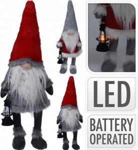 Figurina textila, Gnome cu nas, LED, 51 cm