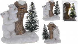 Figurina urs polar cu copil, LED, 14 cm