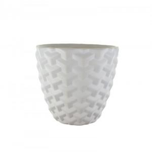 Ghiveci ceramica, model, alb, 14x13 cm