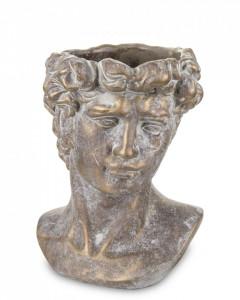 Ghiveci de piatra, forma cap barbat, bronz, 23x17x15 cm