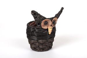 Ghiveci din nuiele, model bufnita, 15x22 cm