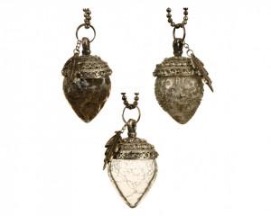 Glob de sticla/metal, ghinda silver, 8 cm