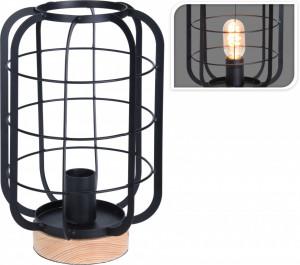 Lampa de masa metalica, cu baza lemn, 20x31 cm