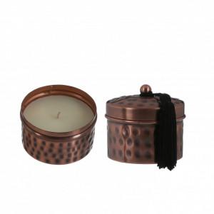 Lumanare parfumata, suport metalic cupru, Manja, 7x7.5cm