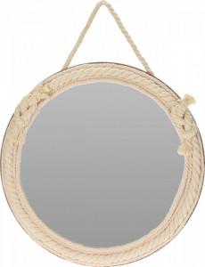Oglinda de perete, cadru textil - iuta, crem, 35.5 cm