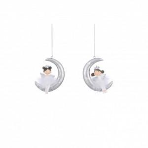 Ornament cu agatatoare, fetita/luna, alb/argintiu, 6x2x9cm