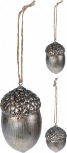 Ornament cu agatatoare, ghinda argintie, 7 cm