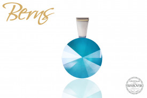 Pandantiv, cristal Swarovski, albastru, diametru 12 mm