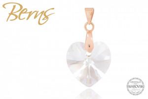 Pandativ, cristale Swarovski, forma inima, rosegold, 14mm