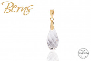 Pandativ, cristale Swarovski, forma lacrima, alb