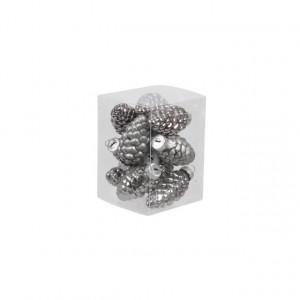 Set 12 globuri de sticla, tip con, gri, 6 cm
