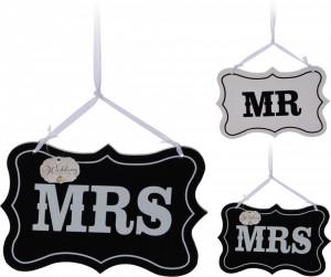 Set 2 tablite, MR/MRS, lemn, alb/negru