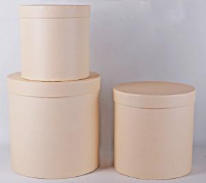 Set 3 cutii-cilindru, crem cu buline, 20x20 cm