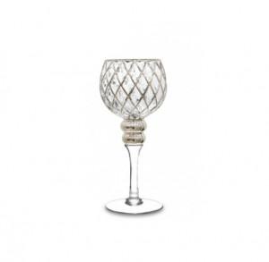 Sfesnic tip pahar, sticla, argintiu, 30x14cm