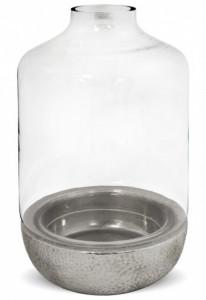 Suport lumanare sticla, cu baza ceramica, silver, 35 cm