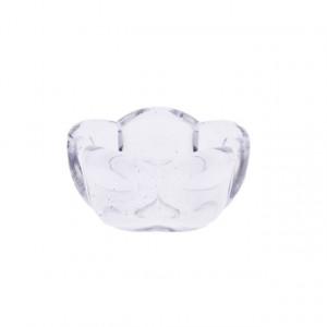 Suport lumanare, sticla, model floare, 7 cm