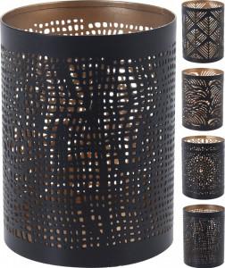 Suport metalic de lumanare, negru/auriu, 10x8 cm