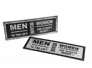 Tablita cu mesaj pentru barbati/femei, 35x15 cm
