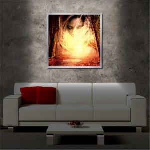 Tablou iluminat LED cu rama metalica Spirit in the Woods (60 x 60 cm)