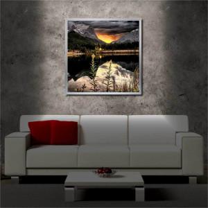 Tablou iluminat LED cu rama metalica Sunset on the Lake (60 x 60 cm)