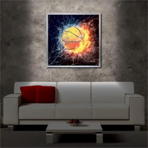 Tablou iluminat LED cu rama metalica The Ball (60 x 60 cm)