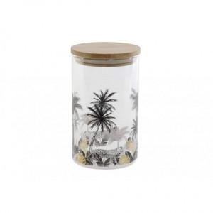 Vas de sticla, capac bambus, 1 L