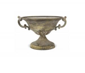 Amfora metalica auriu antichizat, 15x24x21 cm