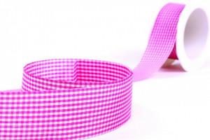 Banda textila, roz, in carouri, 25mm x 10m