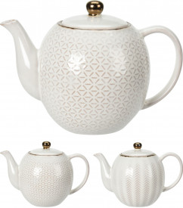 Ceainic ceramica, alb/crem, 1.1L